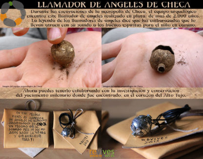 Réplica artesanal en plata del llamador de ángeles encontrado en el yacimiento arqueologico de Checa, más de 2000 años.