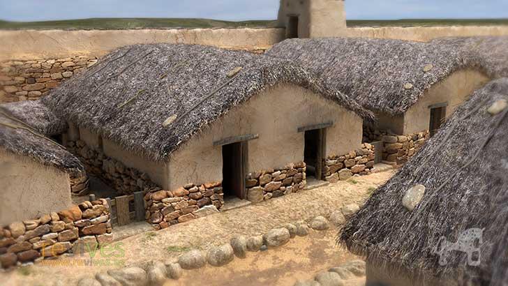 Reconstrucción 3D de una casa del yacimiento arqueológico de Numancia.