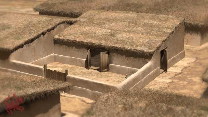 Reconstrucción 3D de una casa del yacimiento arqueológico de Segeda.